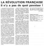 Article sur 'La Révolution Fr...' Nov.'870001